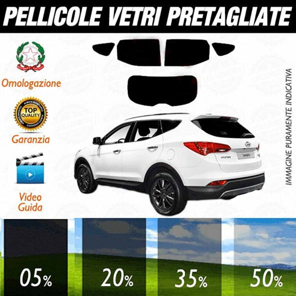 Hyundai Santa Fè Sport dal 2013 ad OGGI Pellicole Oscuramento Vetri Auto Pre Tagliate a Misura