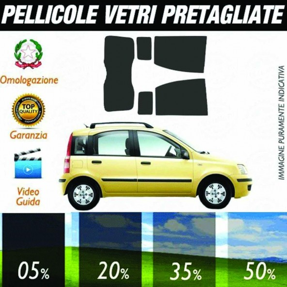 Fiat Panda dal 2003 al 2012 Pellicole Oscuramento Vetri Posteriori Auto Pre Tagliate a Misura