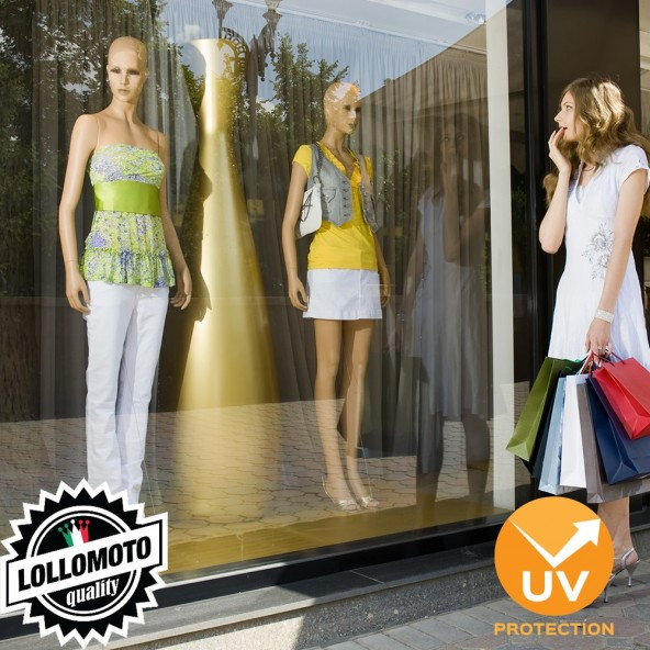 Pellicola Adesiva Anti-Scolorimento Protezione Raggi UVA per Vetri e Vetrate Negozi e Locali Commerciali