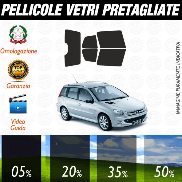 Peugeot 206 SW dal 2002 al 2006 Pellicole Oscuramento Vetri Auto Pre Tagliate a Misura Posteriore