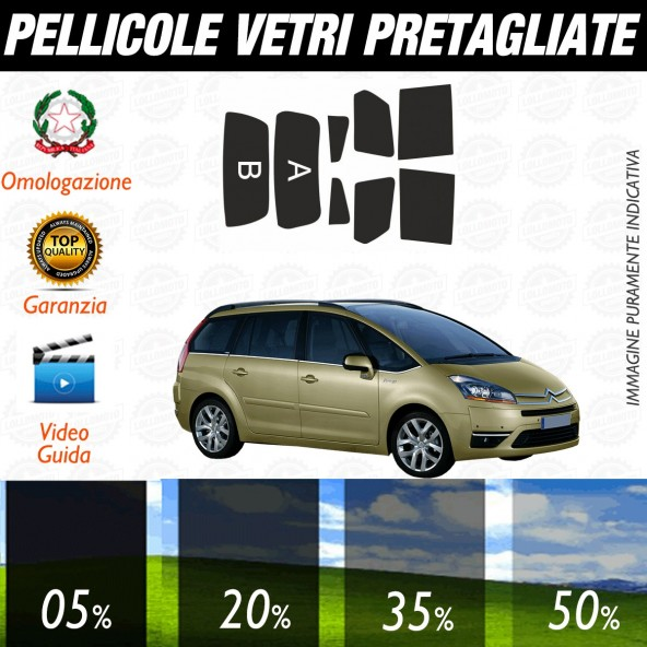 Citroen C4 Gran Picasso dal 2006 al 2013 Pellicole Oscuramento Vetri Posteriori Auto Pre Tagliate a Misura
