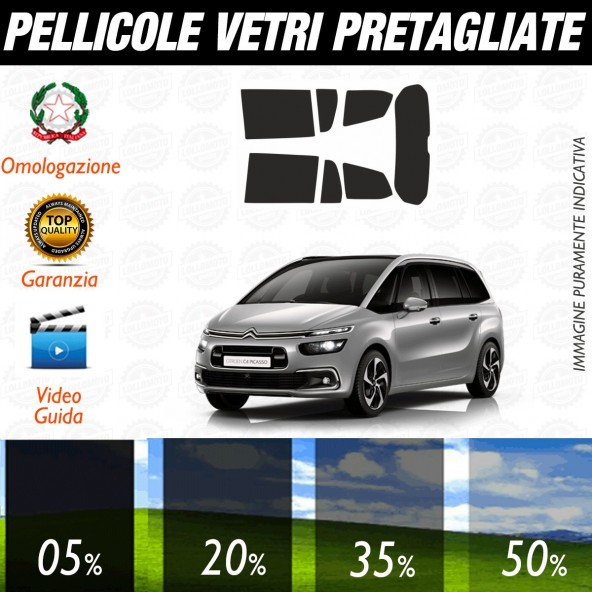 Citroen C4 Gran Picasso dal 2014 ad OGGI Pellicole Oscuramento Vetri Posteriori Auto Pre Tagliate a Misura