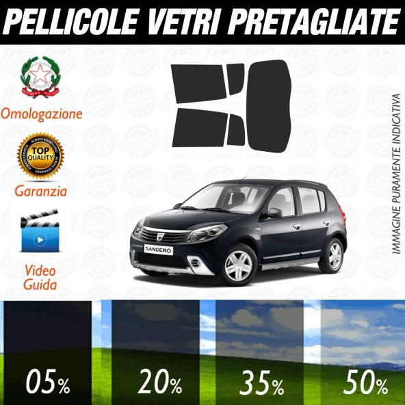 Dacia Sandero 5P dal 2008 al 2012 Pellicole Oscuramento Vetri Posteriori Auto Pre Tagliate a Misura