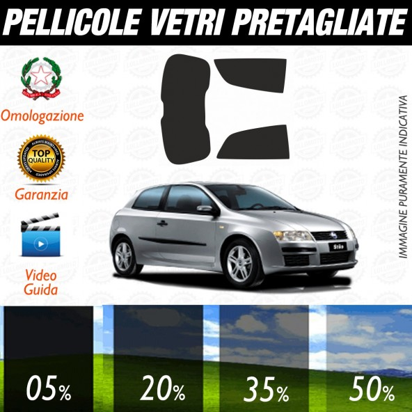 Fiat Stilo 3P dal 2002 al 2006 Pellicole Oscuramento Vetri Posteriori Auto Pre Tagliate a Misura