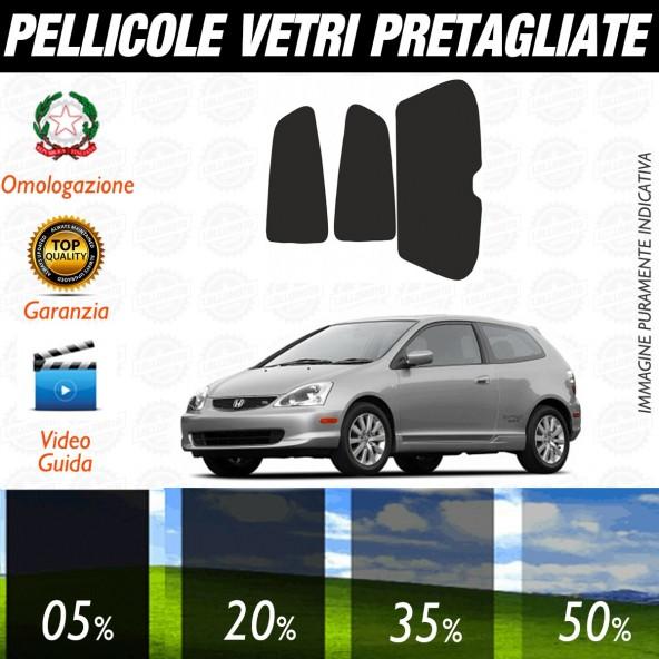 Honda Civic 3P dal 2002 al 2006 Pellicole Oscuramento Vetri Posteriori Auto Pre Tagliate a Misura