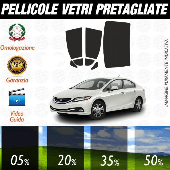 Honda Civic Hybrid dal 2007 ad OGGI Pellicole Oscuramento Vetri Posteriori Auto Pre Tagliate a Misura