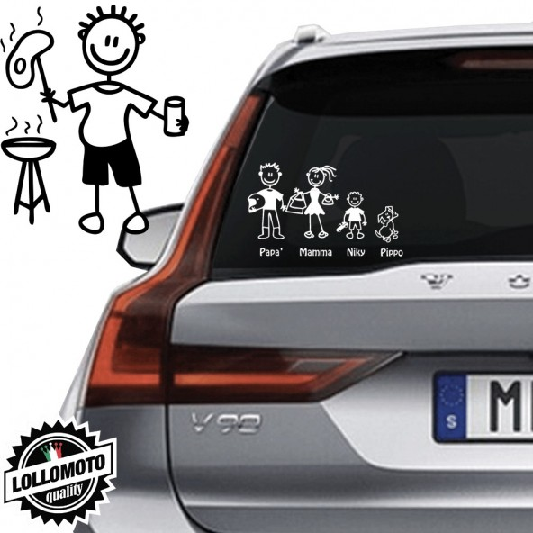 Papà Barbeque Vetro Auto Famiglia StickersFamily Stickers Family Decal
