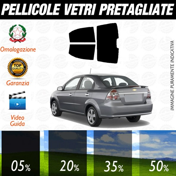 Chevrolet Aveo LT Berlina dal 2009 al 2010 Pellicole Oscuramento Vetri Posteriori Auto Pre Tagliate a Misura