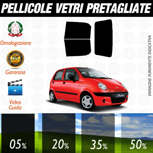 Chevrolet Matiz dal 2001 al 2008 Pellicole Oscuramento Vetri Posteriori Auto Pre Tagliate a Misura