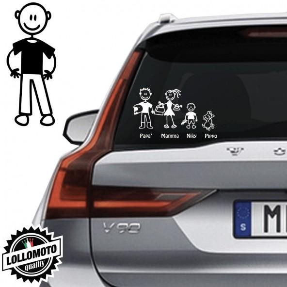 Papà Senza Capelli Vetro Auto Famiglia StickersFamily Stickers Family Decal