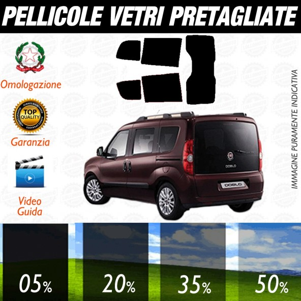 Fiat Doblò Panorama dal 2010 ad OGGI Pellicole Oscuramento Vetri Posteriori Auto Pre Tagliate a Misura Plotter
