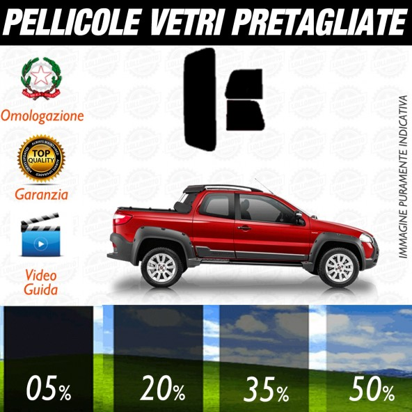 Fiat Strada Extended Cab dal 2002 al 2006 Pellicole Oscuramento Vetri Posteriori Auto Pre Tagliate a Misura Plotter