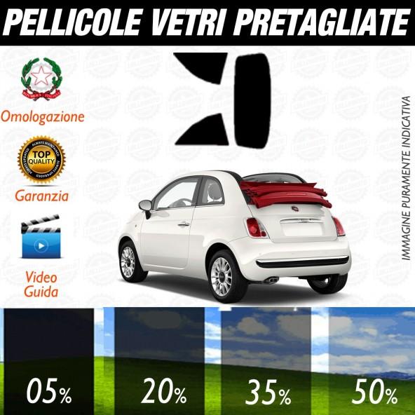 Fiat 500 C dal 2009 ad OGGI Pellicole Oscuramento Vetri Auto Pre Tagliate a Misura