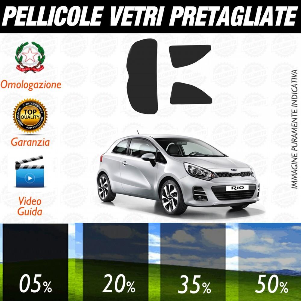 Kia Rio 3P dal 2012 ad OGGI Pellicole Oscuramento Vetri Auto Pre Tagliate a Misura