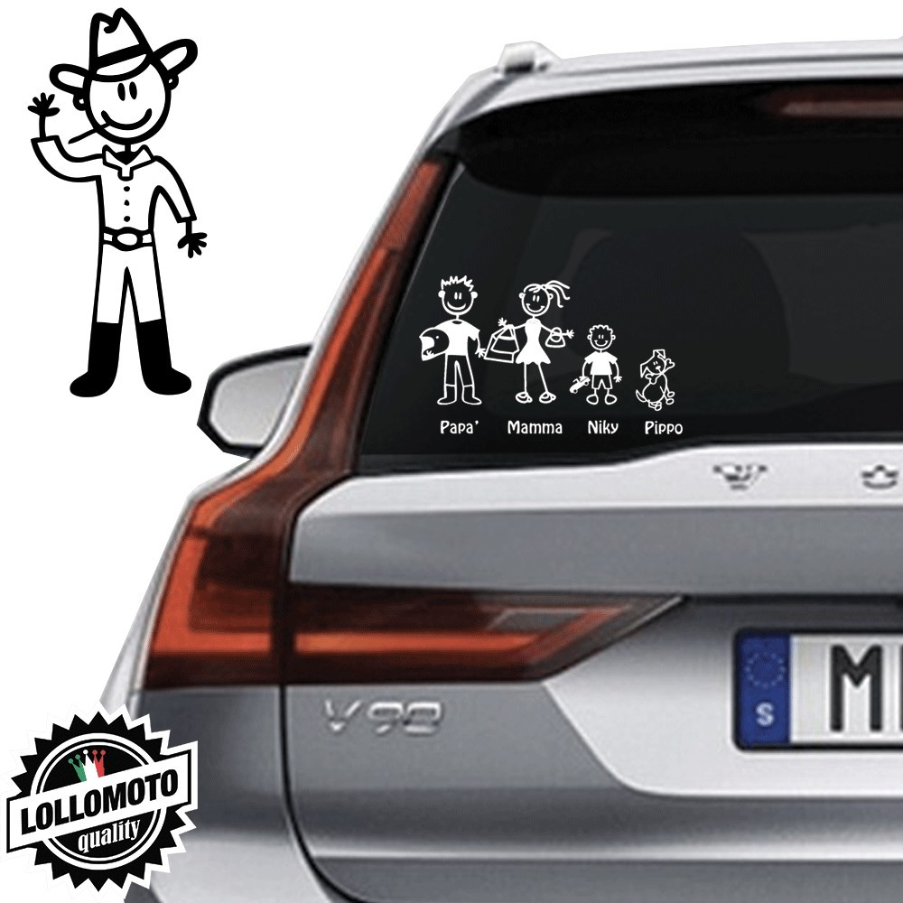 Papà CowBoy Vetro Auto Famiglia StickersFamily Stickers Family