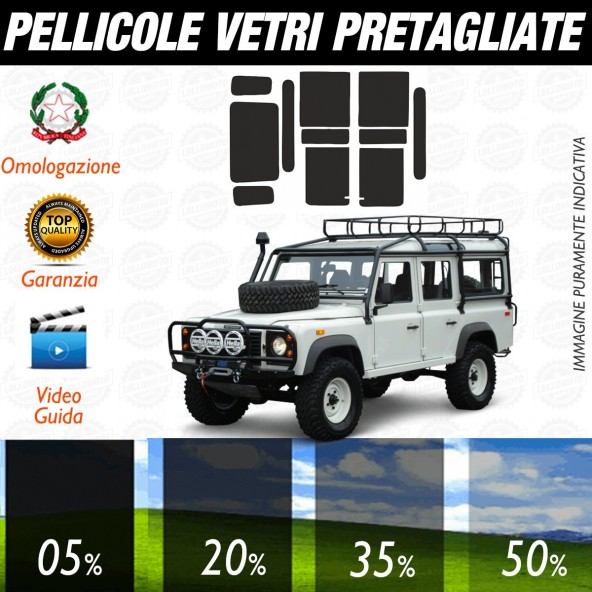 Land Rover Defender 4P dal 1994 al 2009 Pellicole Oscuramento Vetri Auto Pre Tagliate a Misura