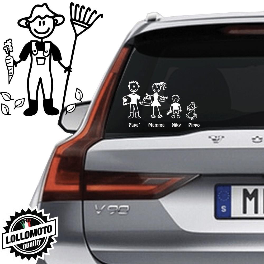 Papà Giardiniere Vetro Auto Famiglia StickersFamily Stickers