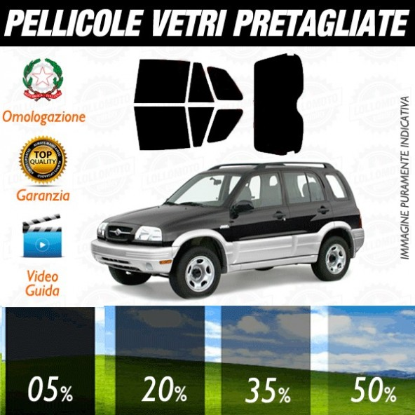 Suzuki Grand Vitara 5P dal 1999 al 2005 Pellicole Oscuramento Vetri Auto Pre Tagliate a Misura