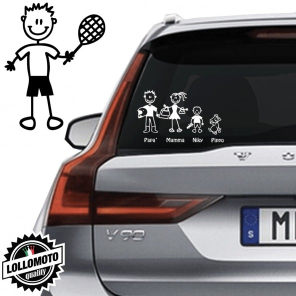 Papà Tennista Vetro Auto Famiglia StickersFamily Stickers Family Decal