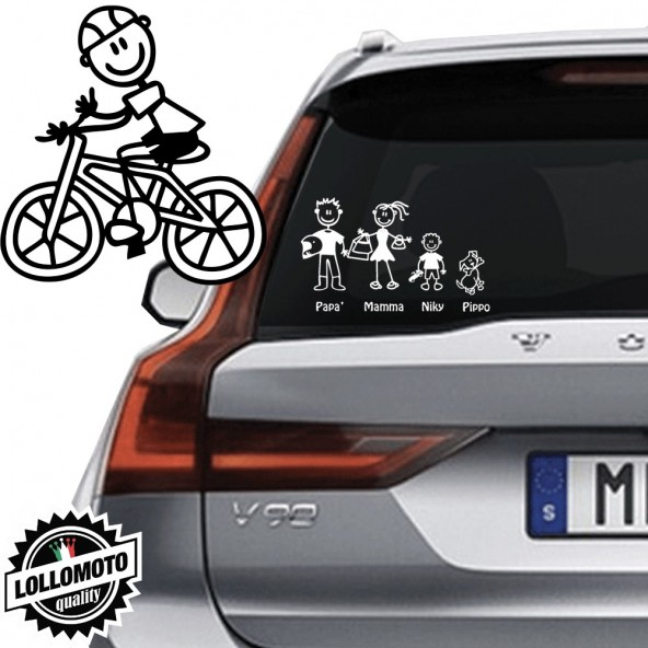 Papà Ciclista Vetro Auto Famiglia StickersFamily Stickers Family Decal