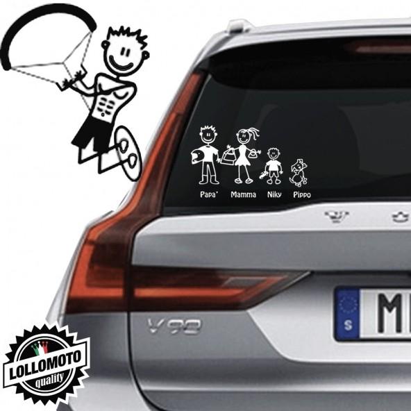 Papà Kite Surf Vetro Auto Famiglia StickersFamily Stickers