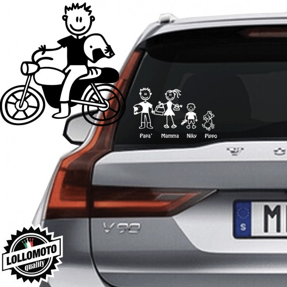 Papà Motociclista Vetro Auto Famiglia StickersFamily Stickers Family Decal