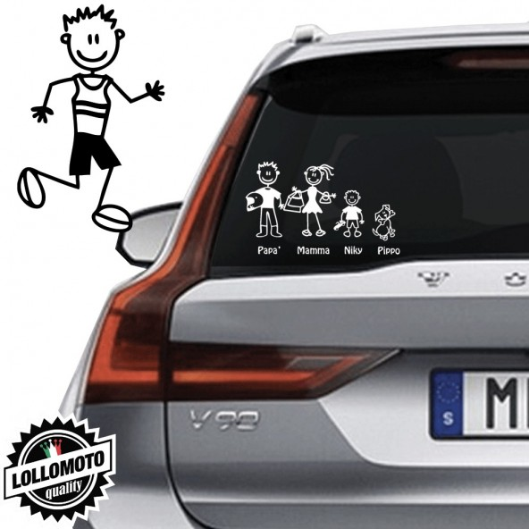 Papà Corridore Vetro Auto Famiglia StickersFamily Stickers Family Decal