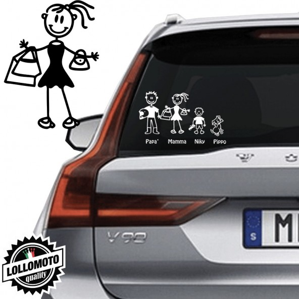 Mamma Shopping Vetro Auto Famiglia StickersFamily Stickers