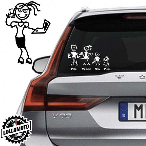 Mamma Con Computer Vetro Auto Famiglia StickersFamily Stickers