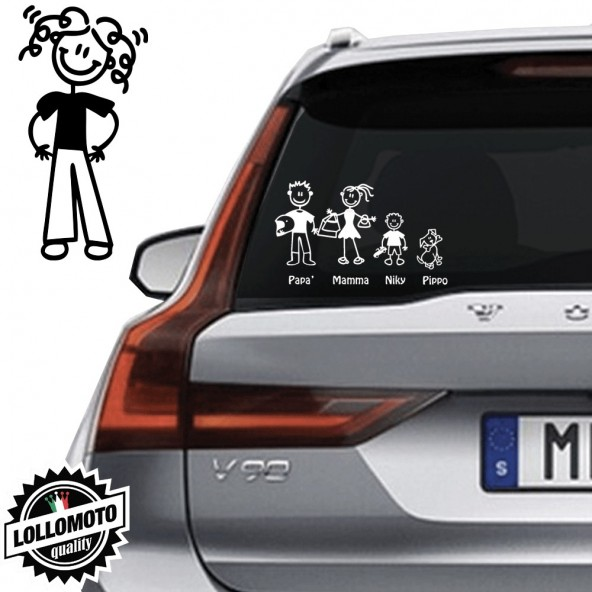 Mamma Con Pantaloni Vetro Auto Famiglia StickersFamily Stickers