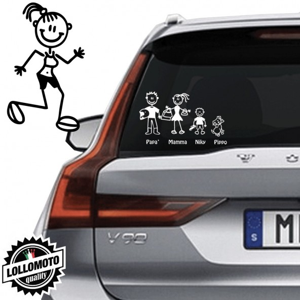 Mamma Che Corre Vetro Auto Famiglia StickersFamily Stickers Family Decal