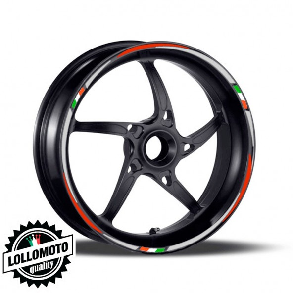 "Kit Adesivi Strisce Cerchi Moto da 17"" Italia Stickers Decal"