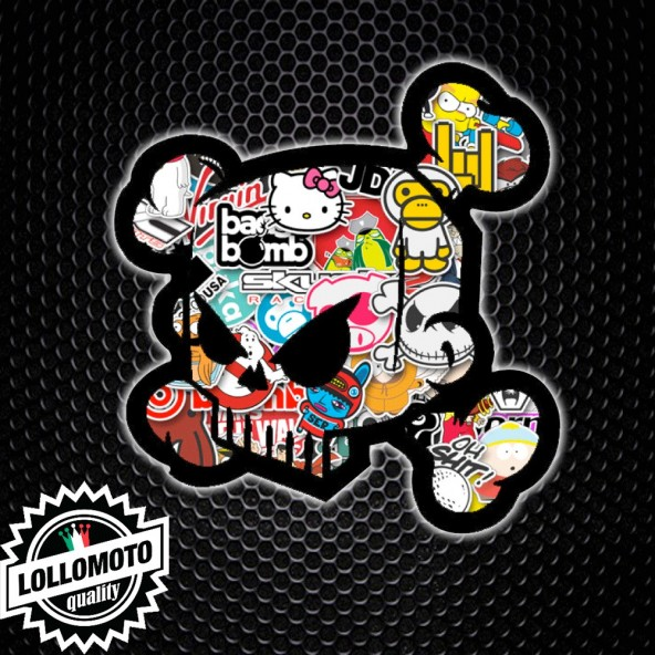 Adesivo Skull Stickers Bomb Colorato Ken Block Teschio Auto e Moto Stickers Decal JDM Tuning