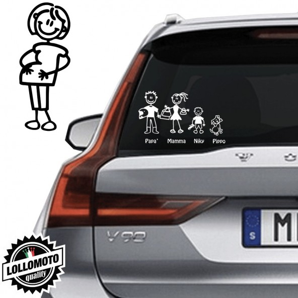 Mamma Incinta Vetro Auto Famiglia StickersFamily Stickers