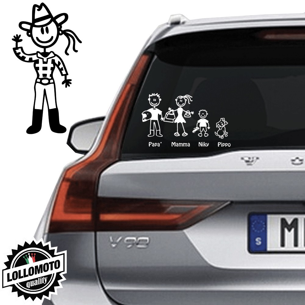 Mamma CowBoy Vetro Auto Famiglia StickersFamily Stickers Family