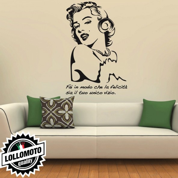 Marilyn Monroe Felicità Wall Stickers Adesivo Murale Arredamento da Muro Interior Design
