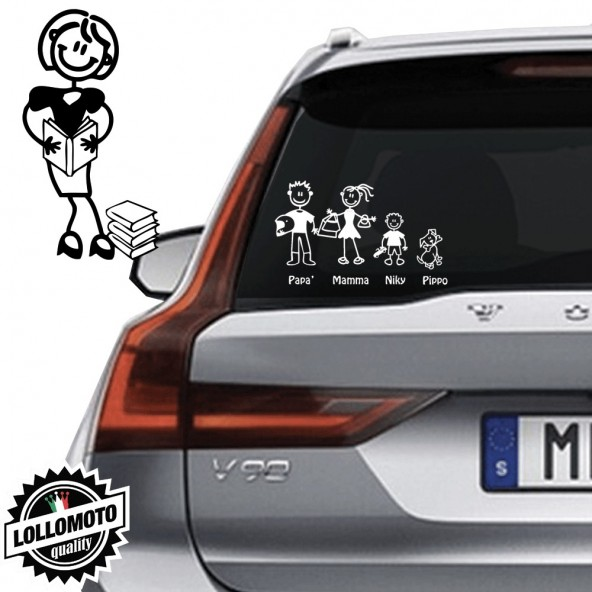 Mamma Con Libri Vetro Auto Famiglia StickersFamily Stickers Family Decal
