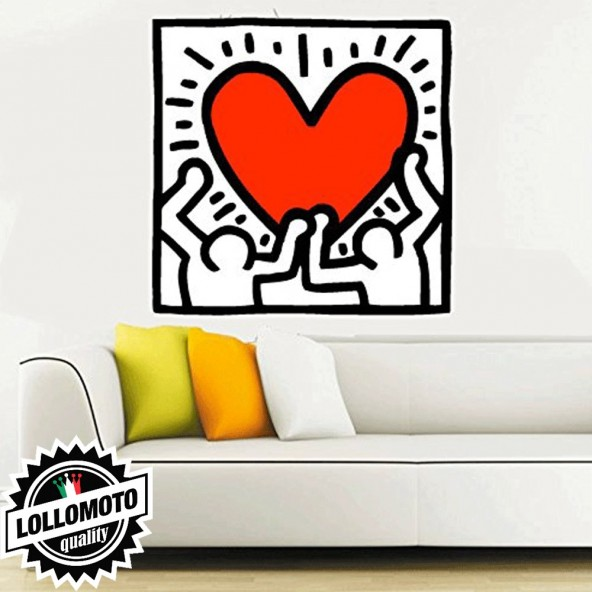 Cuore Keith Haring Stickers Adesivo Murale Arredamento da Muro Interior Design