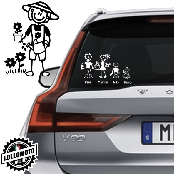 Mamma Giardiniera Vetro Auto Famiglia StickersFamily Stickers Family Decal