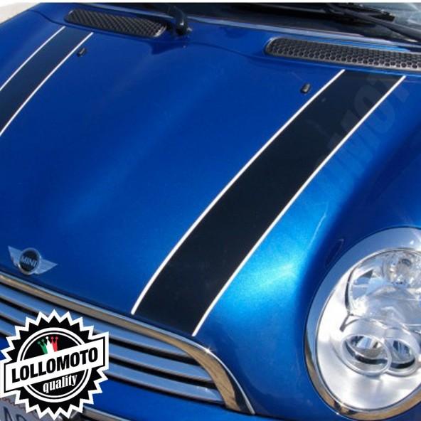 Kit Fasce Adesive Cofano Mini 2 Colori Bordo Attaccato Strisce Bonnet Decal Tuning