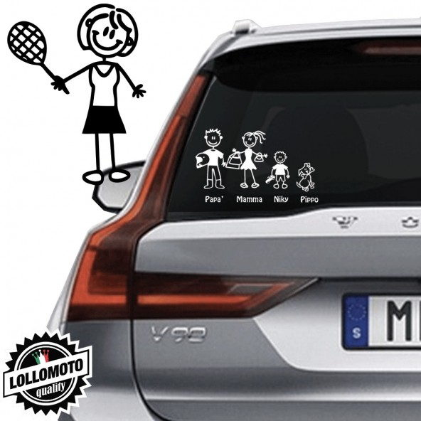 Mamma Tennista Vetro Auto Famiglia StickersFamily Stickers Family Decal