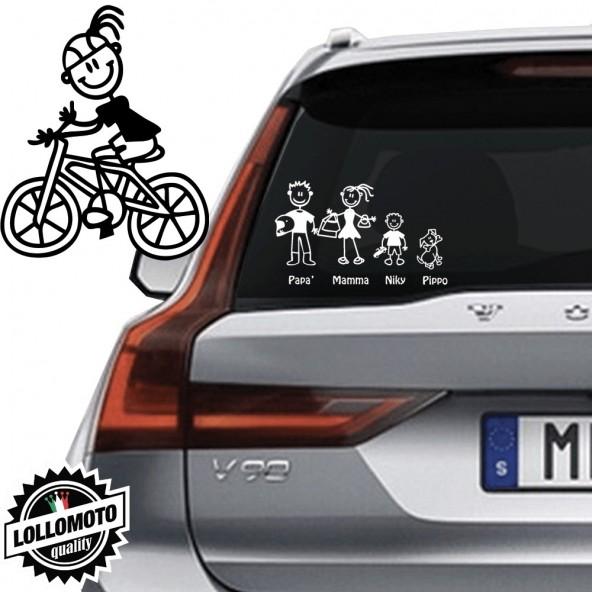Mamma Ciclista Vetro Auto Famiglia StickersFamily Stickers