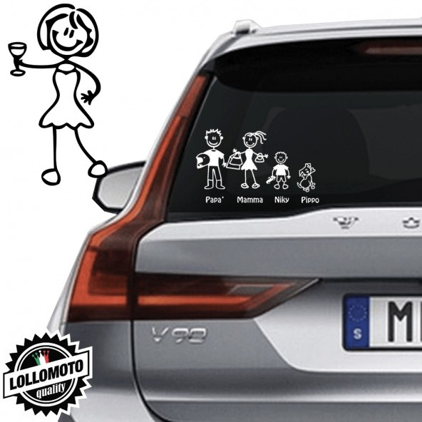 Mamma Che Brinda Vetro Auto Famiglia StickersFamily Stickers Family Decal
