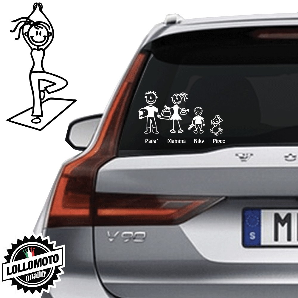 Mamma Yoga Vetro Auto Famiglia StickersFamily Stickers Family