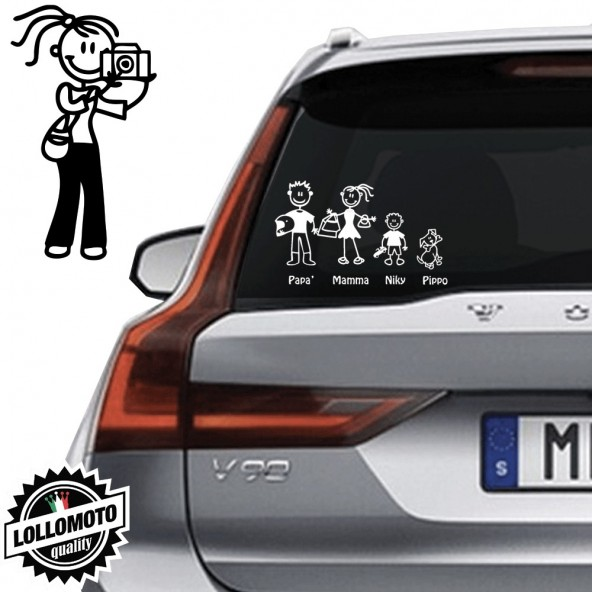 Mamma Fotografa Vetro Auto Famiglia StickersFamily Stickers Family Decal