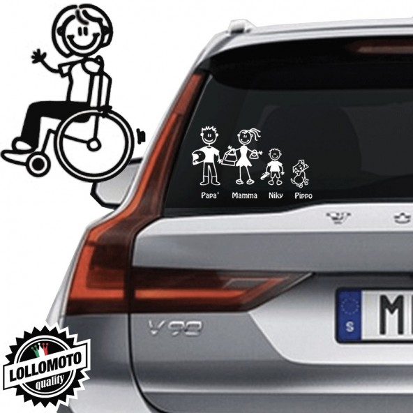Mamma Diversamente Abile Vetro Auto Famiglia StickersFamily Stickers Family Decal