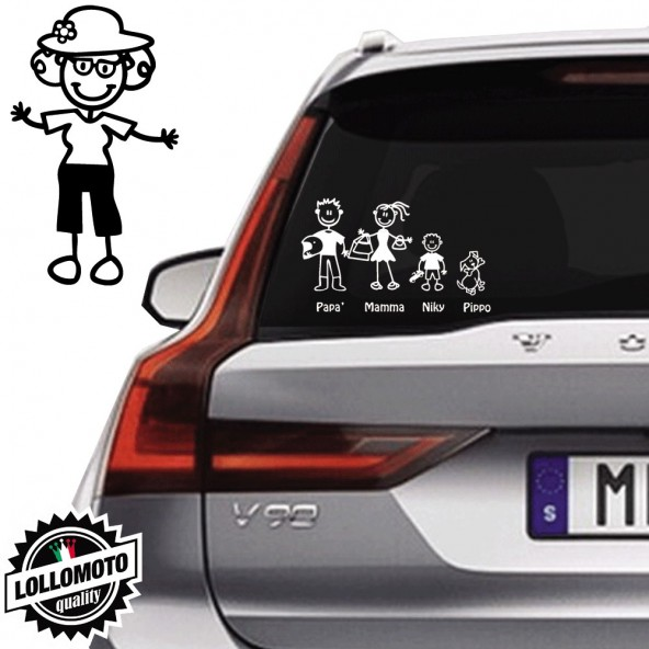 Nonna Con Cappello Vetro Auto Famiglia StickersFamily Stickers Family Decal