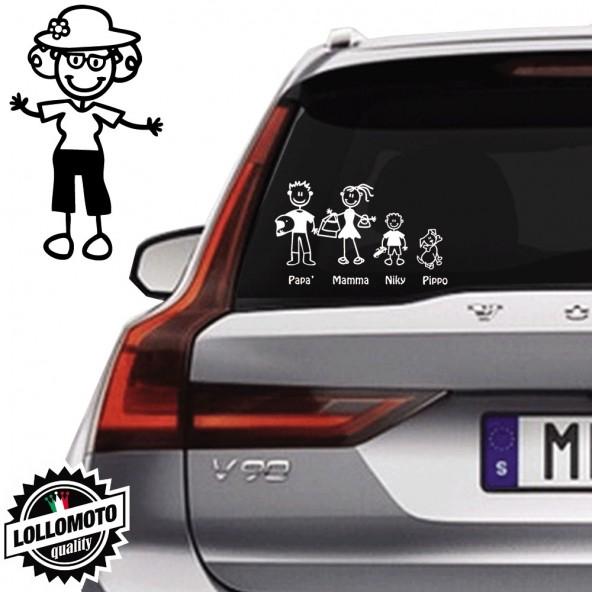 Nonna Con Cappello Vetro Auto Famiglia StickersFamily Stickers