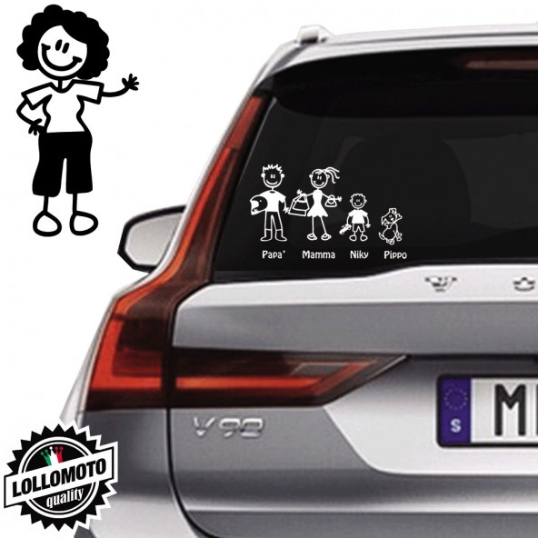 Nonna Con Capelli Neri Vetro Auto Famiglia StickersFamily Stickers Family Decal
