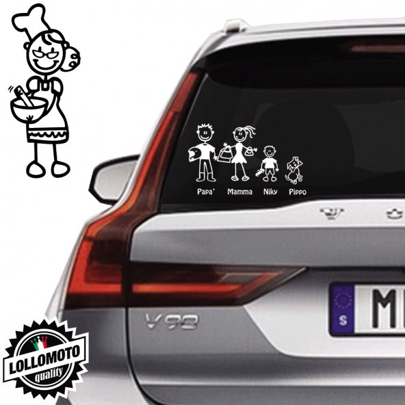 Nonna Cuoca Vetro Auto Famiglia StickersFamily Stickers Family